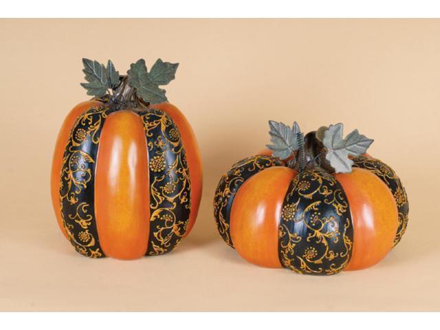 2 Harvest Orange and Black Floral Thanksgiving Pumpkin Table Top Decorations