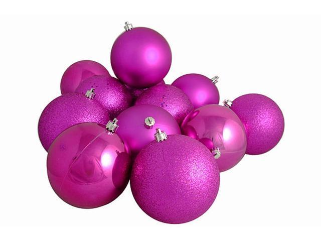 12ct Pink Magenta Shatterproof 4-Finish Christmas Ball Ornaments 4