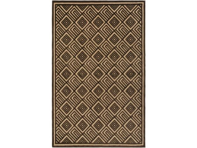 5' x 7.5' Square Saqqara Dark Chocolate Brown and Tan Area Throw Rug