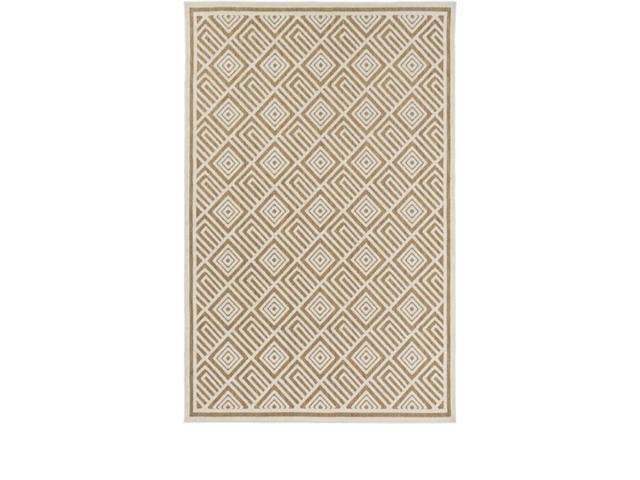 3.75' x 5.65' Square Saqqara Caramel Brown and Seashell White Area Throw Rug