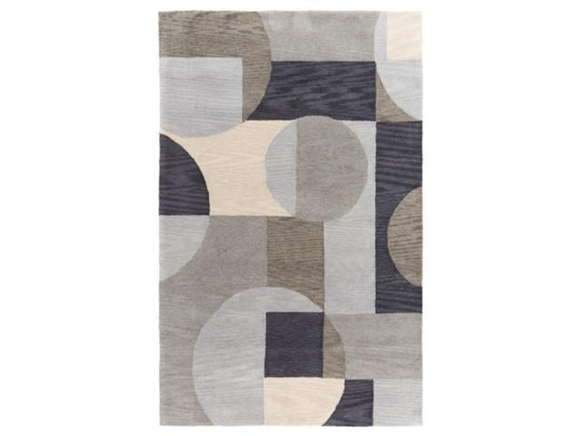 8' x 10' Puzzle Edges Olive Brown, Gray, Fig Black and Taupe White Hand Tufted Area Throw Rug