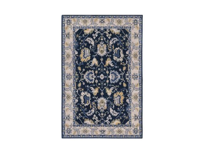 5.25' x 7.5' Royal Windmill Navy Blue and Sunflower Yellow Area Throw Rug
