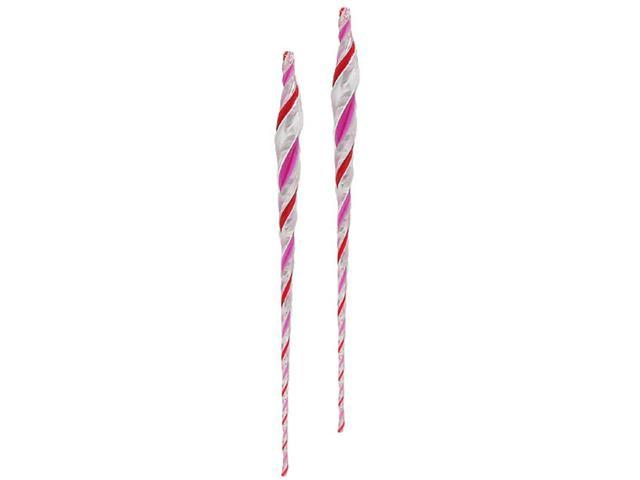 Pack of 2 Candy Fantasy Pink Peppermint Twist Icicle Christmas Ornaments 13