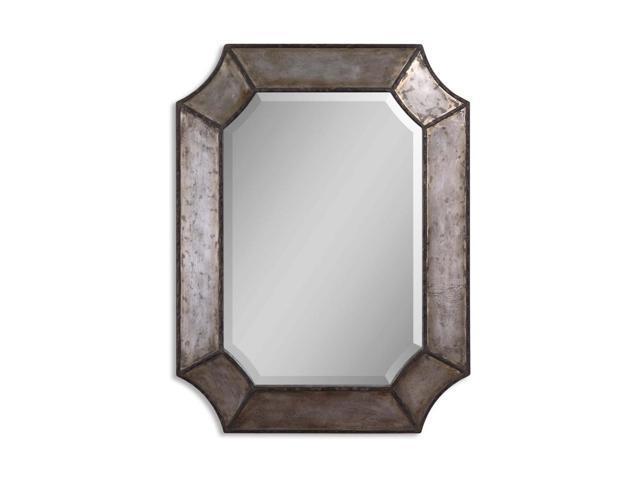 32 distressed aluminum and bronze framed beveled for Octagon beveled mirror