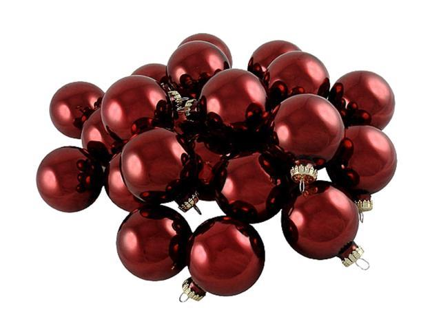 Pack of 36 Shiny Scarlett Red Glass Ball Christmas Ornaments 2.75