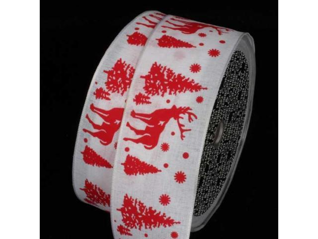 Wonderful White and Red Stag Wired Craft Ribbon 1.5