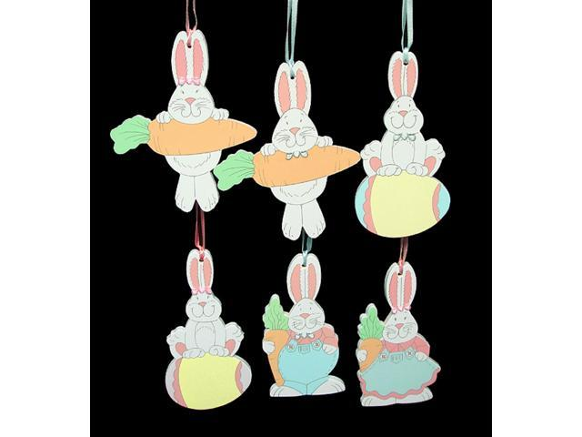 Set of 6 Easter Bunny Hanging Wooden Ornaments #63967B