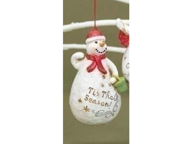 Tis the Season Snowman with Festive Verse Christmas Ornament