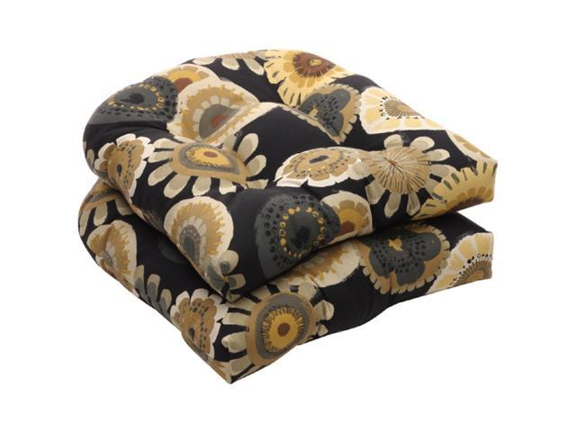 Pack of 2 Eco-Friendly Black and Yellow Floral Outdoor Wicker Seat Cushions 19