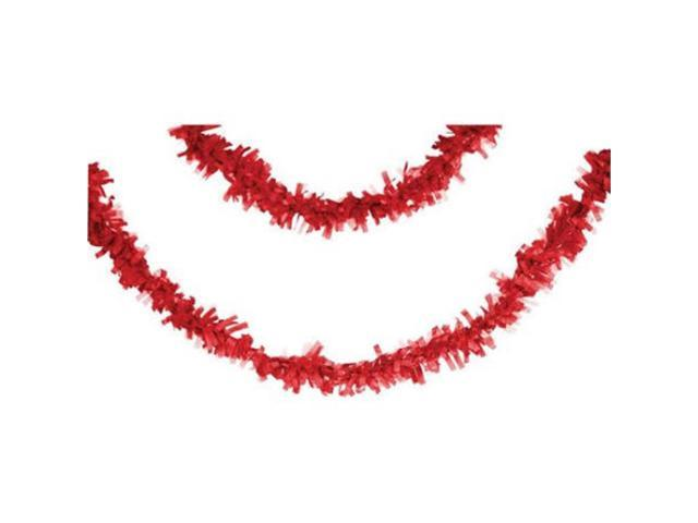 Club Pack of 12 Classic Red Fringed Party Tissue Garland Decorations 25'