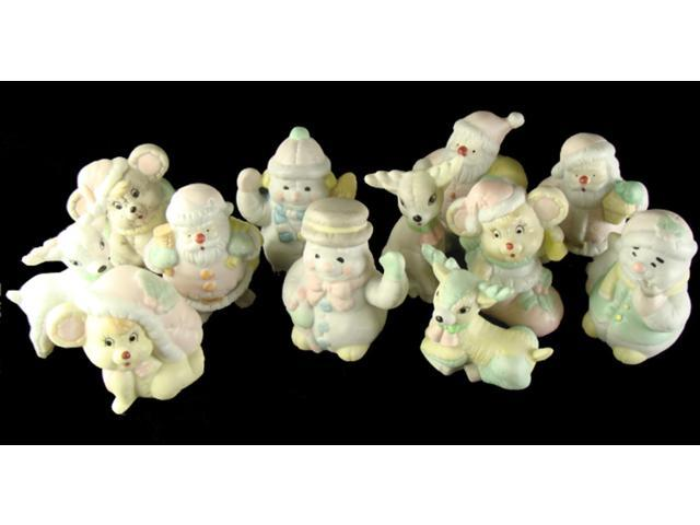 Club Pack of 144 Pastel Snowman, Deer, Santa Claus and Mouse Christmas Figurines