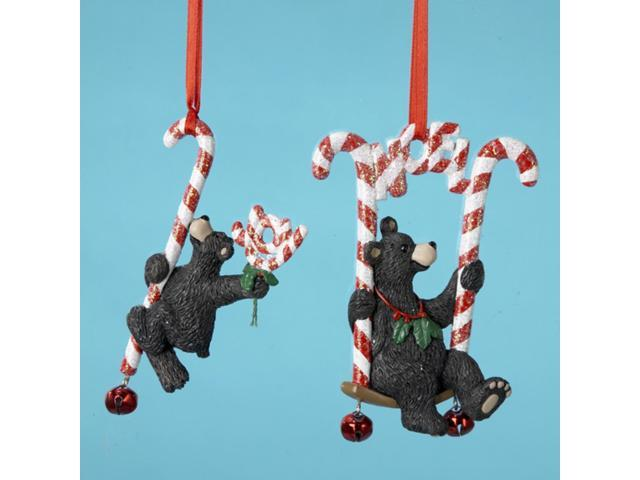 Club Pack of 12 Peppermint Twist Black Bear Christmas Ornaments