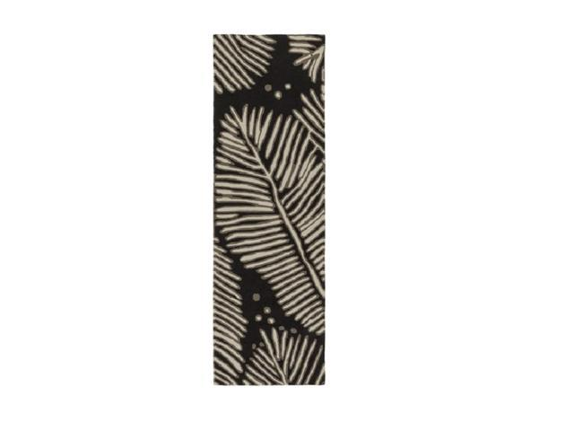2.5' x 8' Tranquil Shade Lacquer Black, Dusk Brown and Downy Taupe Hand Hooked Area Throw Rug