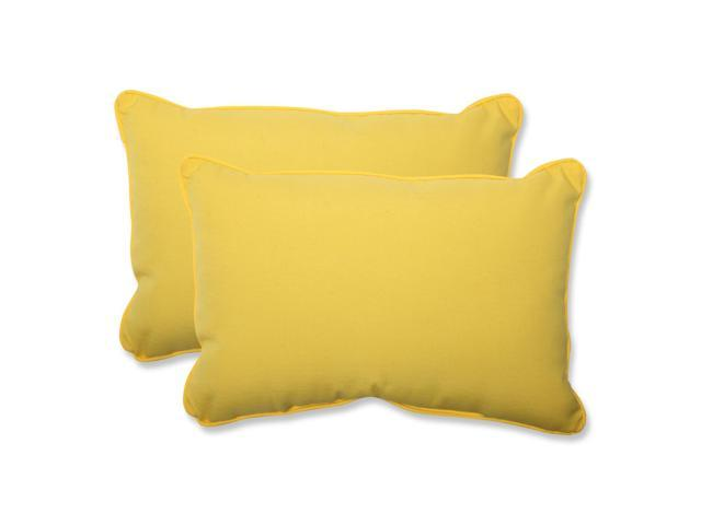 Set of 2 Chroma Citrus Yellow Outdoor Corded Over-sized Throw Pillows 24.5