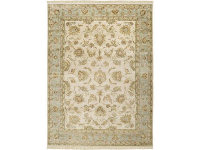 9' x 13' Chiayi Toasted Almond and Khaki Green Wool Rectangular Area Throw Rug