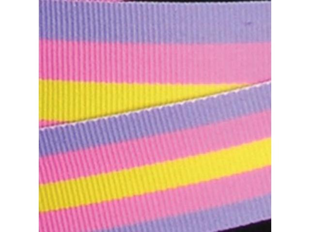 Purple, Pink and Yellow Striped Woven Grosgrain Craft Ribbon 1