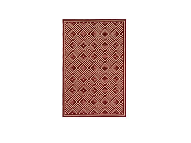 5' x 7.5' Square Saqqara Chili Pepper Red and Taupe Beige Area Throw Rug