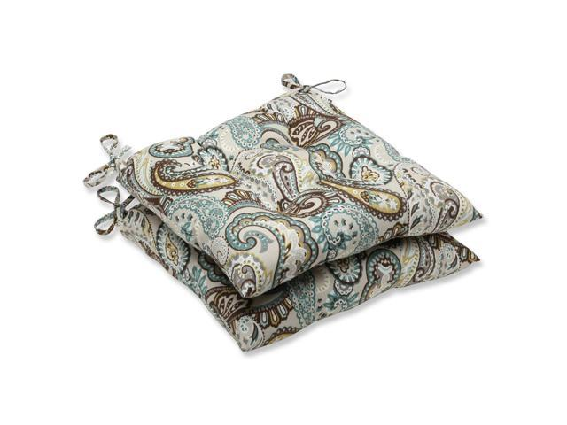 Set of 2 Paisley Giardino Light Blue and Brown Patio Wrought Iron Chair Cushions 19
