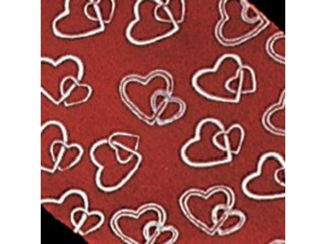 Red and White Organza Locking Heart Cut Edge Craft Ribbon 2