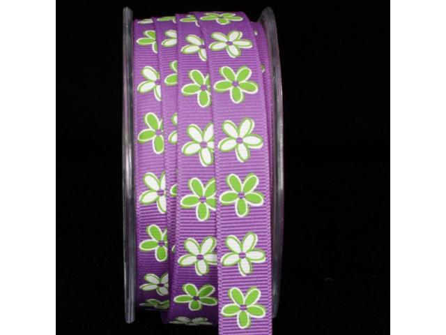 Set of 2 Rolls- Inga's County Flowers Grosgrain- Purple 27 yards