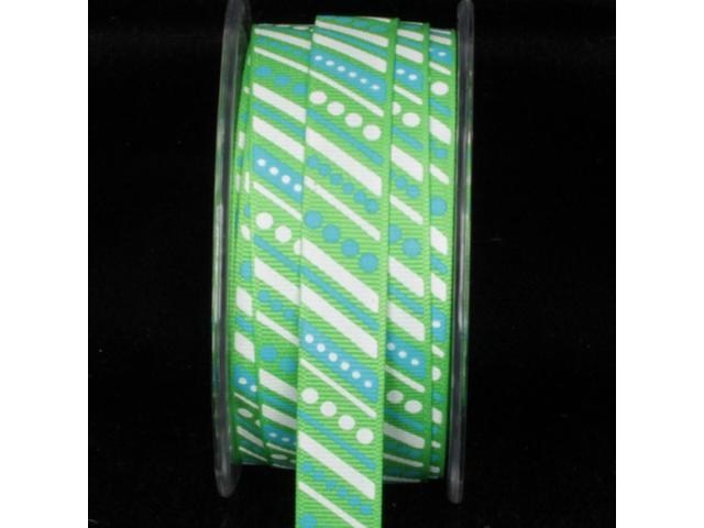 Blue, Green and White Striped Polka Dot Pattern Grosgrain Craft Ribbon 5/8