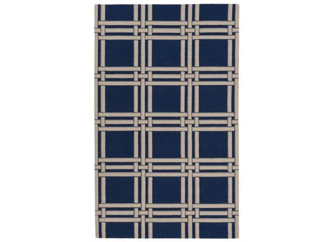 5' x 7.5' Lattice Charm Stone Navy, Gray and Sand White Hand Hooked Wool Area Throw Rug
