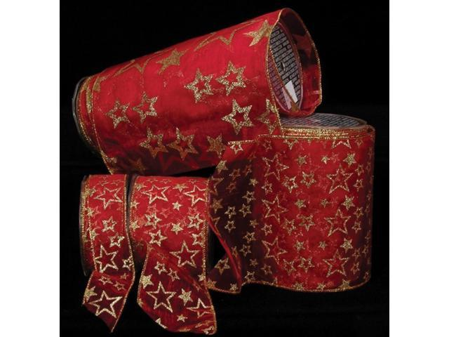 Sheer Red Shimmering Super Star Wired Craft Ribbon 6