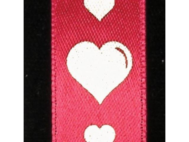 Red with White Hearts Woven Satin Print Decorative Ribbon 5/8
