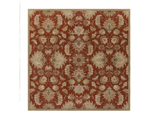 8' Alexandria Burnt Sienna, Khaki Brown and Fog Gray Hand Tufted Square Wool Area Throw Rug