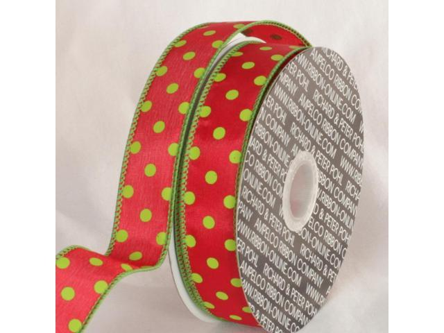 Classic Red and Green Polka-Dot Wired Craft Ribbon 1