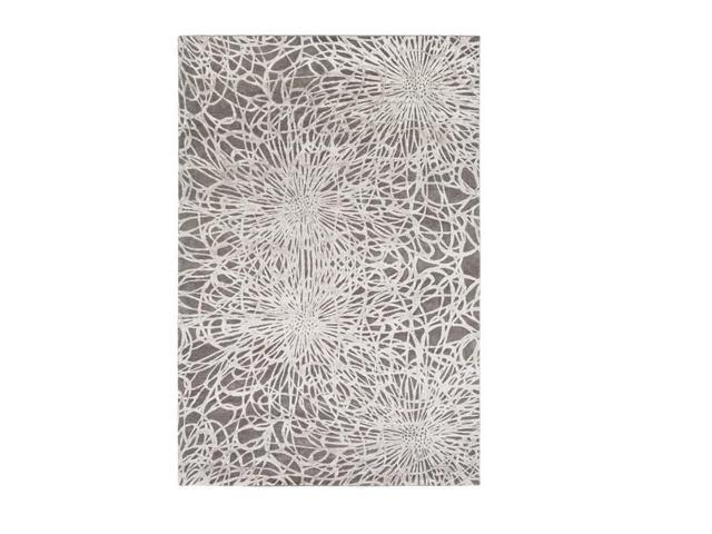 6' x 9' Modern Exuberance Charcoal and Gainsboro Gray Lustrous Sheen Hand Knotted Area Throw Rug