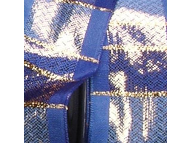 Blue and Gold Striped Woven Taffeta Wired Craft Ribbon 1.5