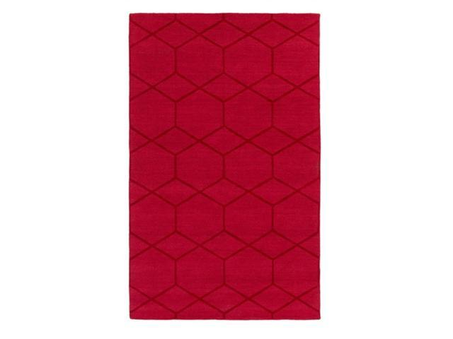 9' x 13' Midnight Diamonds Ruby Red Hand Loomed Wool Area Throw Rug