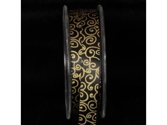 Black and Gold Swirl Pattern Satin Craft Ribbon 5/8