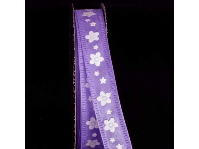 Semi Sheer Lavender Purple and White Floral Print Wired Craft Ribbon 5/8