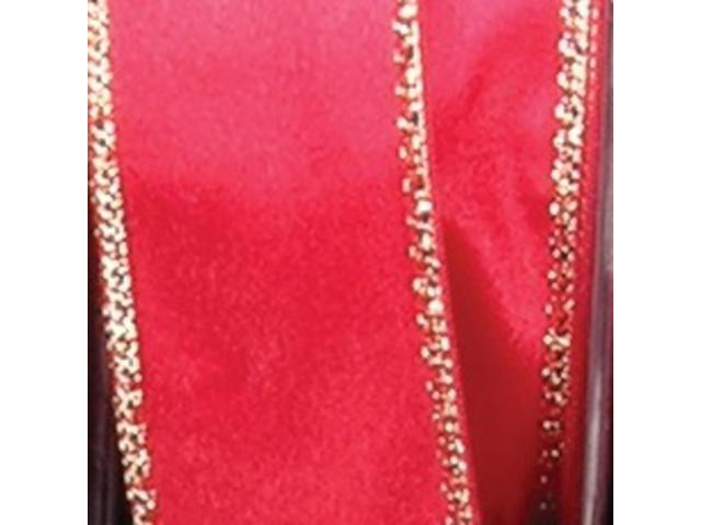 Red Satin with Gold Woven Edge Craft Ribbon 3.2mm x 220 Yards