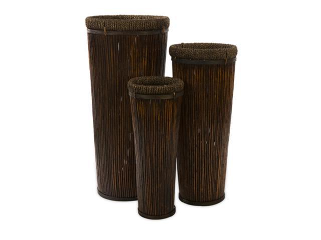 Set of 3 Exotic Mahogany Brown Tall Willow Decorative Planters