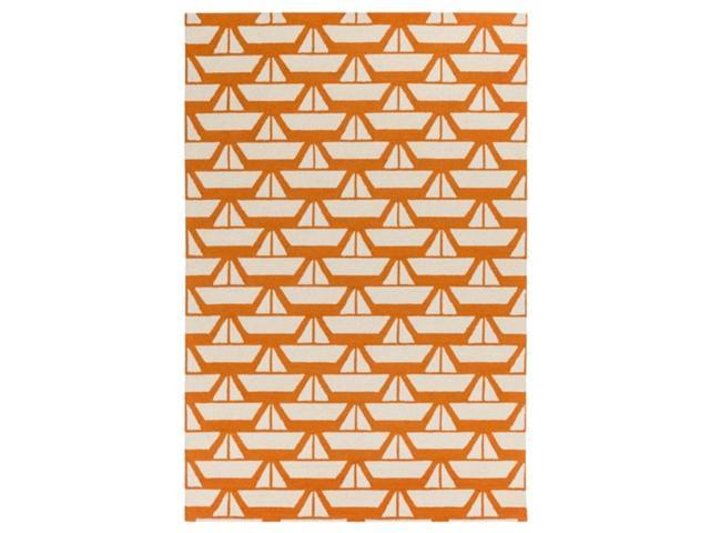5' x 7.5' Serene Sails Pumpkin Orange, French White and Gray Hand Hooked Wool Area Throw Rug