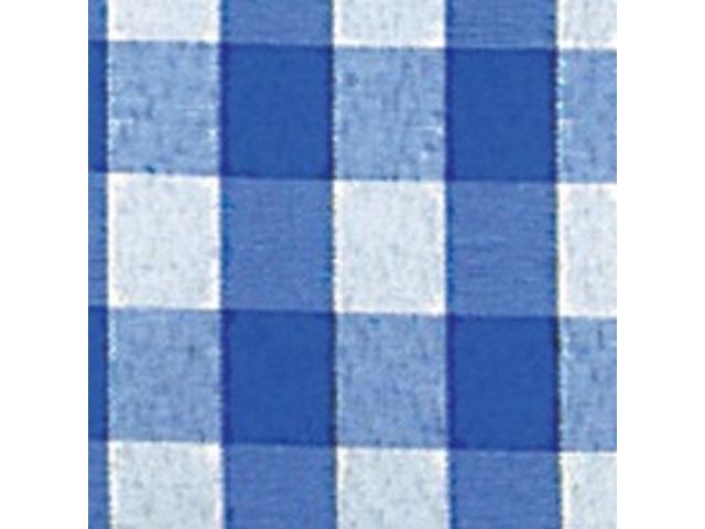 Blue and White Checked Cut Edge Craft Ribbon 2.75