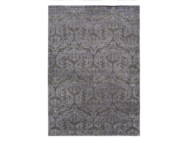 2' x 3' Elegant Traditions Charcoal Black Lustrous Sheen Hand Knotted Area Throw Rug