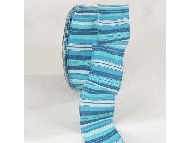 Turquoise, Blue, and White Wired Craft Ribbon 1.5