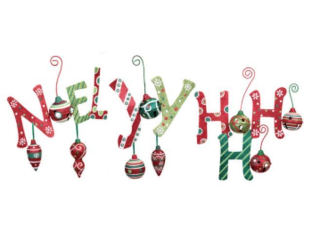Pack of 18 Festive Glitter Noel, Joy, and Ho Ho Ho Metal Christmas Signs 12