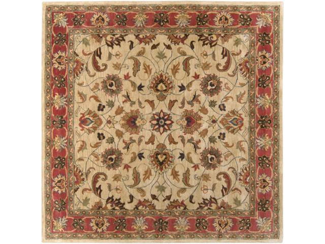 4' Augustus Russet and Burnt Sienna Wool Square Area Throw Rug