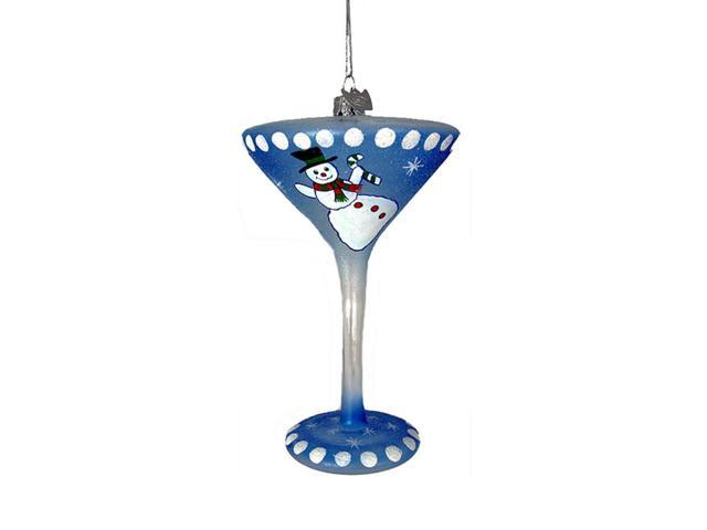 Happy Hour Mouth Blown Glass Snowman Martini Christmas Ornament  5.5