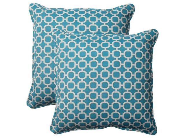 Set of 2 Moroccan Mosaic Blue Outdoor Furniture Square Throw Pillows 18.5