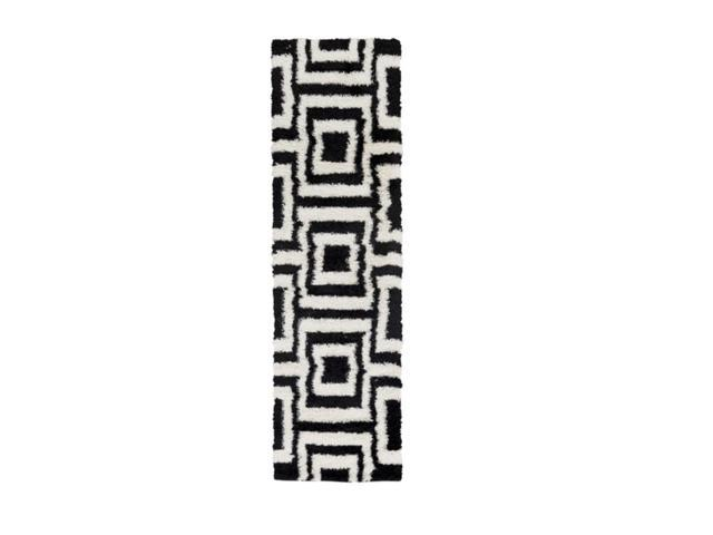 2.25' x 7.85' Foursquare Maze Outer Space Black and Sheep White Plush Area Throw Rug Runner