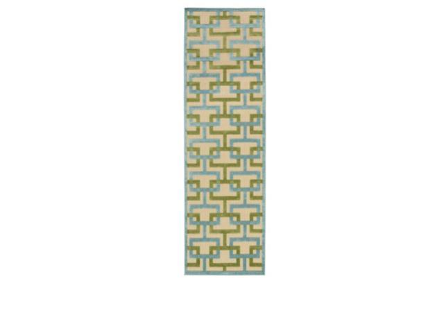 2.5' x 7.85' Interconnecting the Blocks Sky Blue, Pea Green and Beige Area Rug Runner