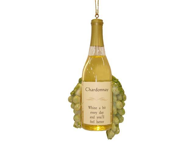 Vintage Tuscan Winery Chardonnay Wine Bottle & Grapes Christmas Ornament