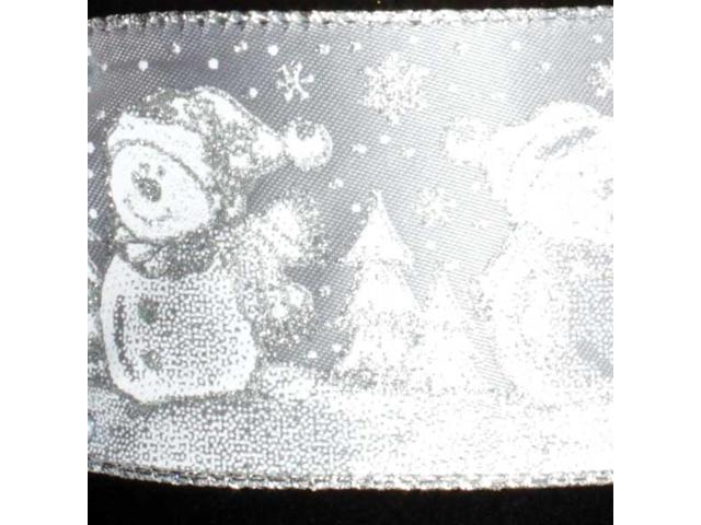 Snowman Snow Day Party Gray and Silver Wired Craft Ribbon 2.5