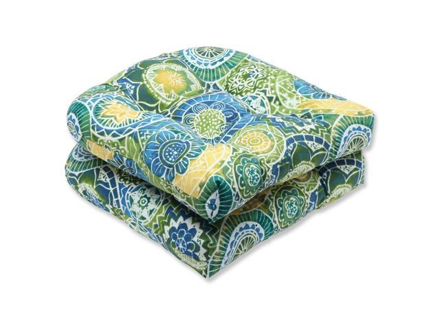 Set of 2 Laguna Mosaico Blue, Green and Yellow Outdoor Patio Wicker Chair Cushions 19